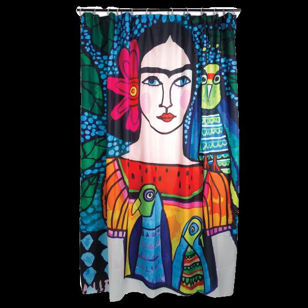 Kitsch Kitchen - Douchegordijn Frida Illustratiie