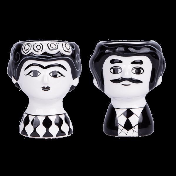Kitsch Kitchen - Eierdopset Carlos en Marisol zwart-wit