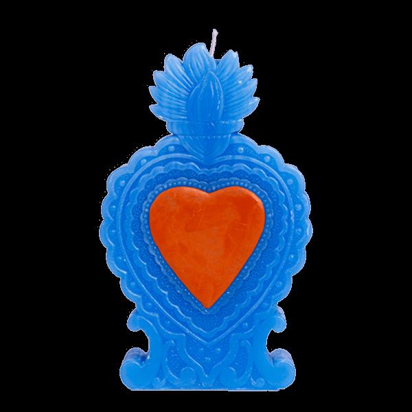Kitsch Kitchen - Kaars Milagro Heart blauw