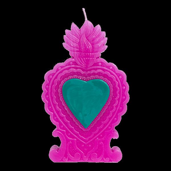 Kitsch Kitchen - Kaars Milagro Heart roze