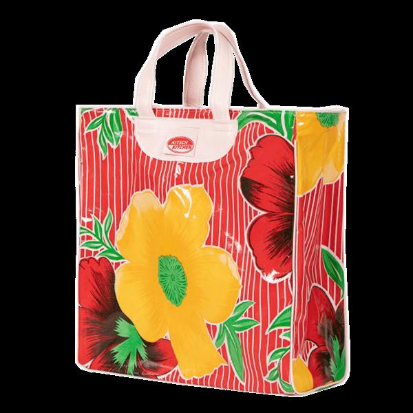 Kitsch Kitchen - Market bag Rayaflores Rood