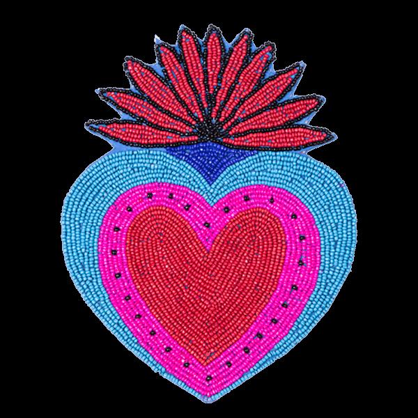 Kitsch Kitchen - Onderzetter Milagro Heart kralen blauw