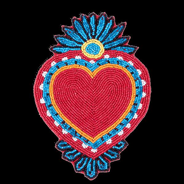Kitsch Kitchen - Onderzetter Milagro Heart kralen rood