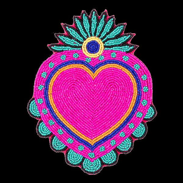 Kitsch Kitchen - Onderzetter Milagro Heart kralen roze