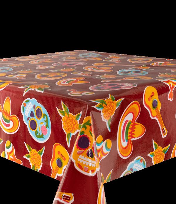 Kitsch Kitchen - Tafelzeil Calaveras rood