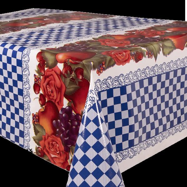 Kitsch Kitchen - Tafelzeil Check and Fruit blauw
