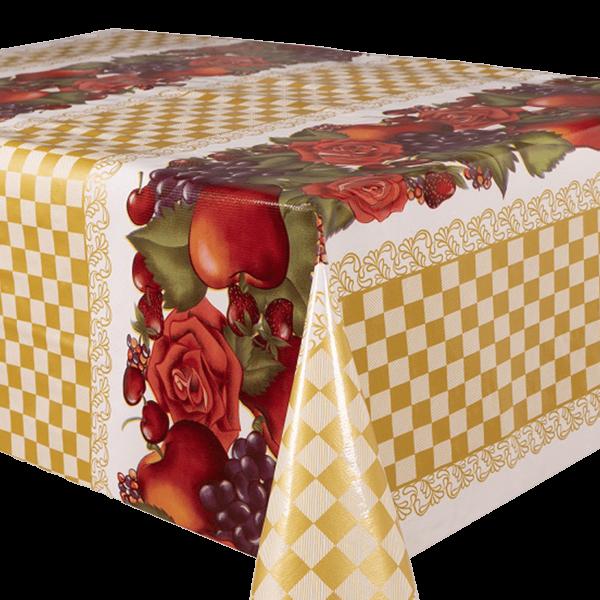 Kitsch Kitchen - Tafelzeil Check and Fruit geel