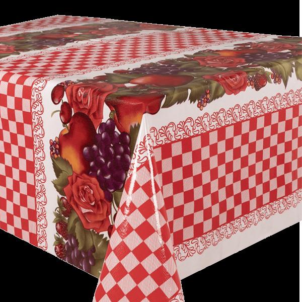 Kitsch Kitchen - Tafelzeil Check and Fruit rood