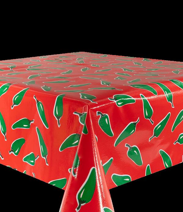 Kitsch Kitchen - Tafelzeil Chiles groen op rood