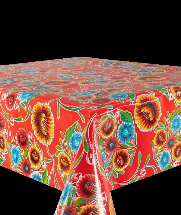 Kitsch Kitchen - Tafelzeil Floralpola rood