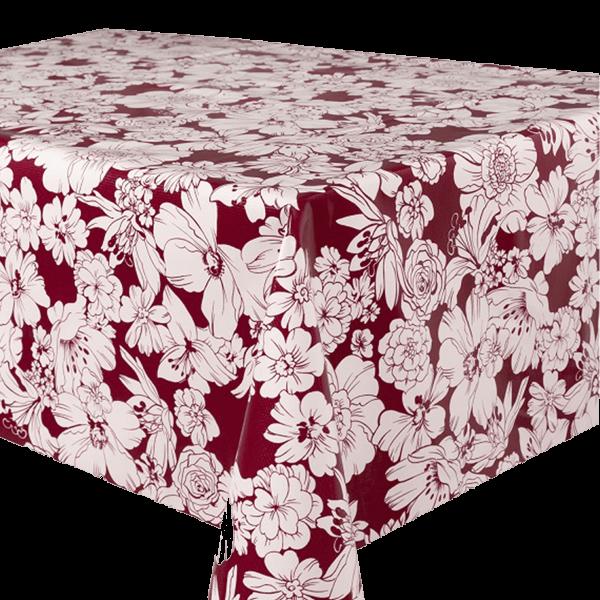 Kitsch Kitchen - Tafelzeil White Flowers donkerrood