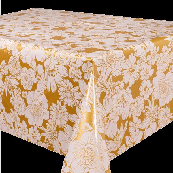 Kitsch Kitchen - Tafelzeil White Flowers goud