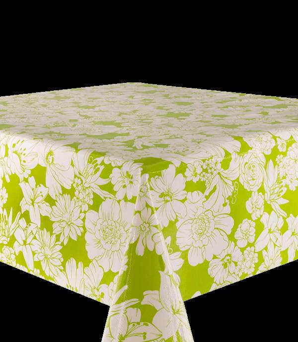 Kitsch Kitchen - Tafelzeil White Flowers groen