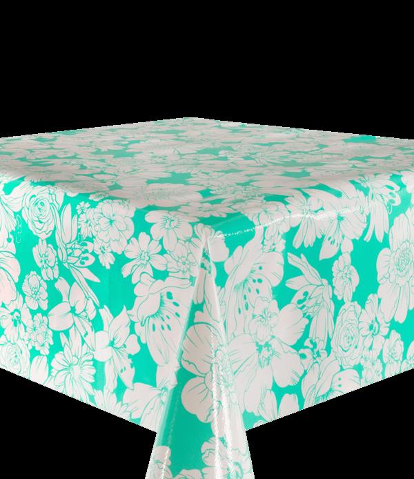 Kitsch Kitchen - Tafelzeil White Flowers mint
