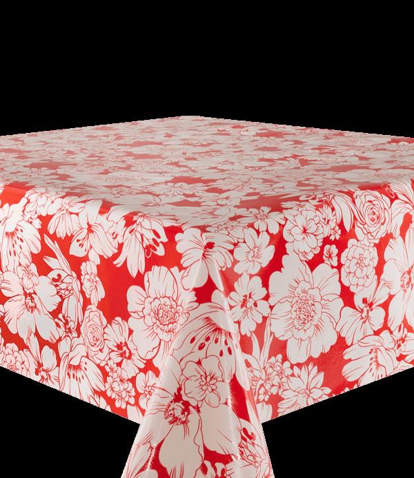 Kitsch Kitchen - Tafelzeil White Flowers rood