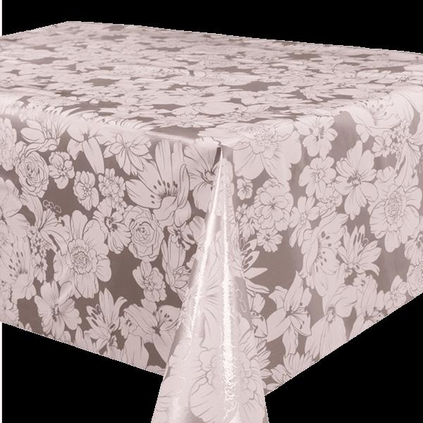 Kitsch Kitchen - Tafelzeil White Flowers zilver