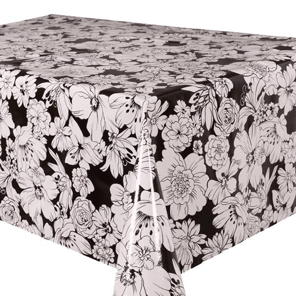 Kitsch Kitchen - Tafelzeil White Flowers zwart